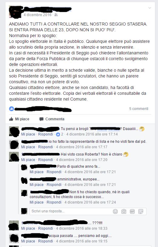 Post di facebook con autodenuncia di reato
